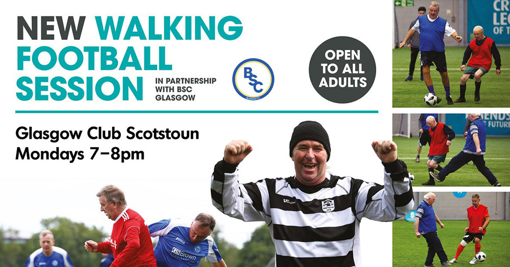 New Walking Football Session with Glasgow Club Scotstoun. This is open to all adults and is on from 7pm until 8pm every Monday evening.